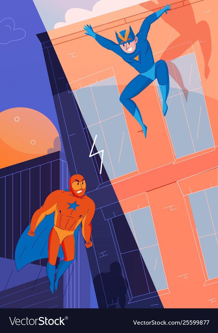 Superheroes Fight Comics Royalty Free Vector Image Ad Comics Fight Superheroes Royalty Ad Superhero Background Superhero Cartoon Cartoon Background