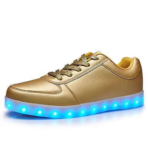 DoGeek Baskets LED Chaussures lumineuseUnisexe Femme Homme Argent  Clignotants de Sports Shoes Light Up Gold