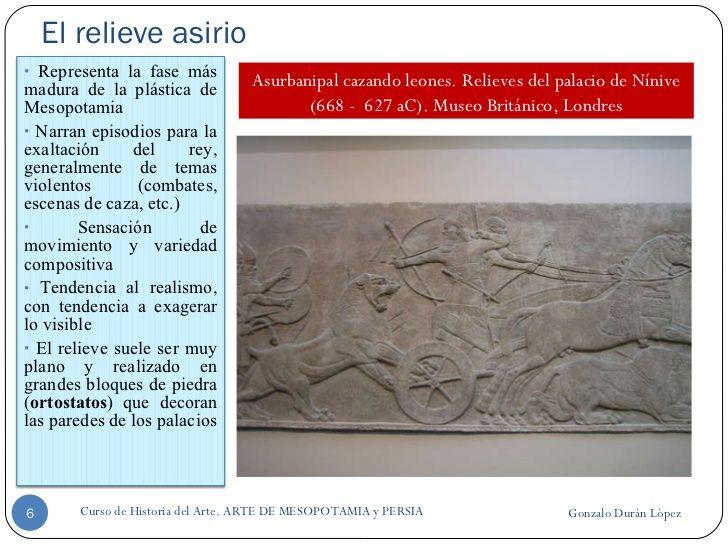 El relieve asirio Gonzalo Durán López Curso de Historia del Arte. ARTE DE MESOPOTAMIA y PERSIA Asurbanipal cazando leones....