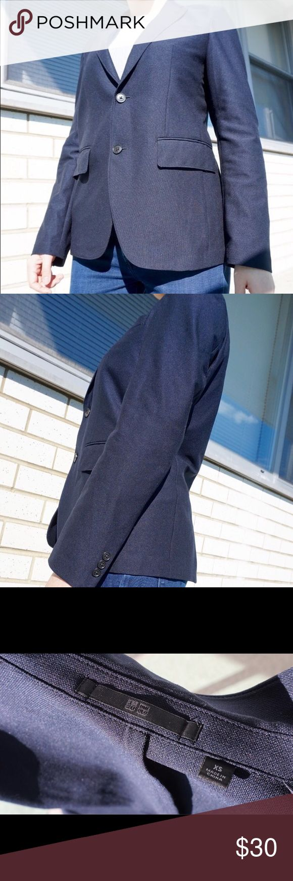 Uniqlo Navy Blue Classic Blazer Classic Jil Sander Inspired jacket from Uniqlo, single breasted, two buttons in front. Uniqlo Jackets & Coats