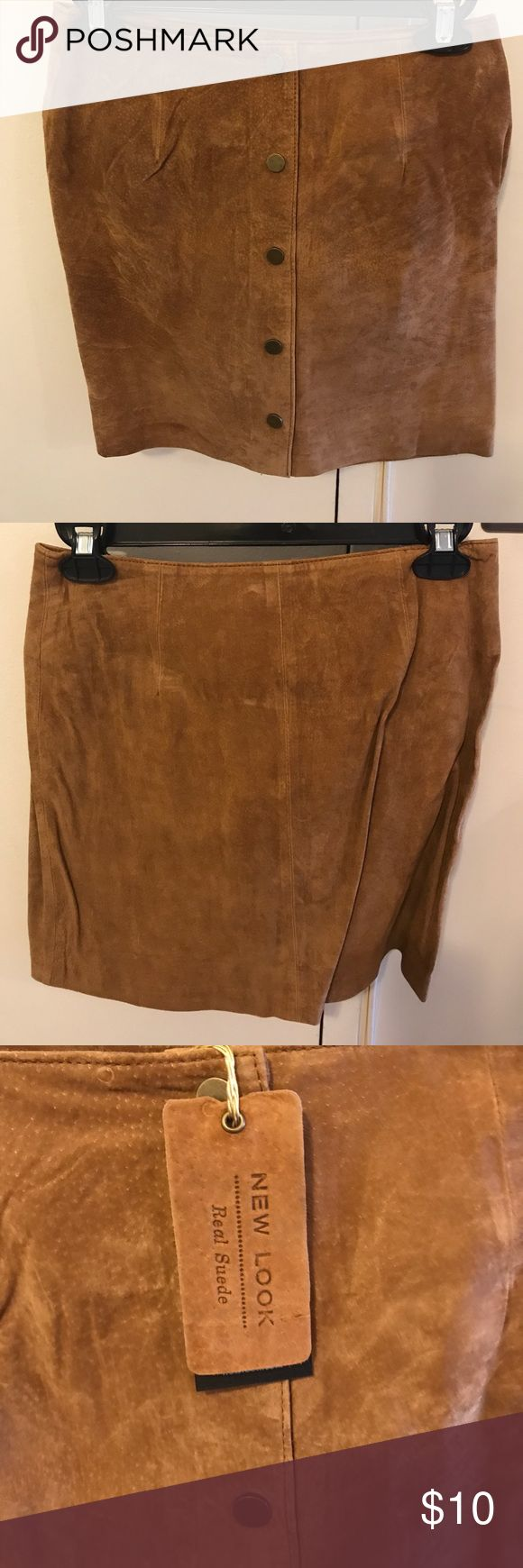 New Look Suede Skirt in Camel - BRAND NEW w/ TAGS Brand new New Look Popper Front Suede Camel Skirt from Asos. Never worn with tags in US size 2 New Look Skirts Mini