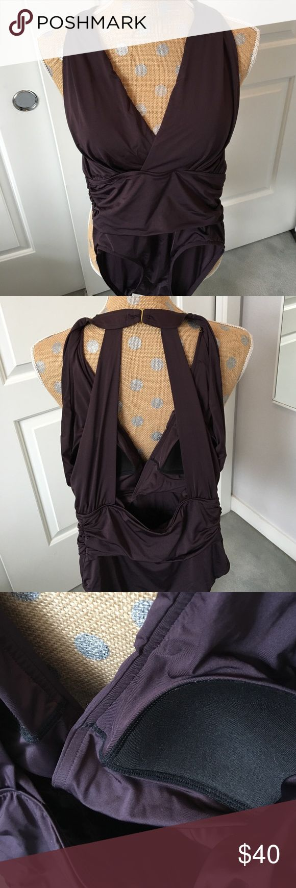 Badgley Mischka dark brown one piece bathing suit! Designer style in this one piece suit. No pilling, beautiful condition! Badgley Mischka Swim One Pieces