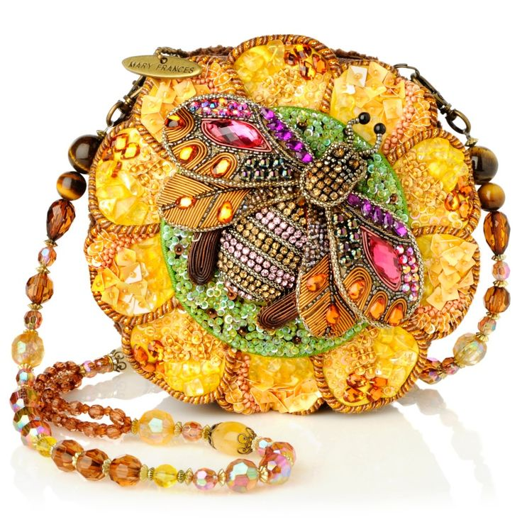 "Mary Frances Bead-Embellished ""Bee Happy"" Round Bag."
