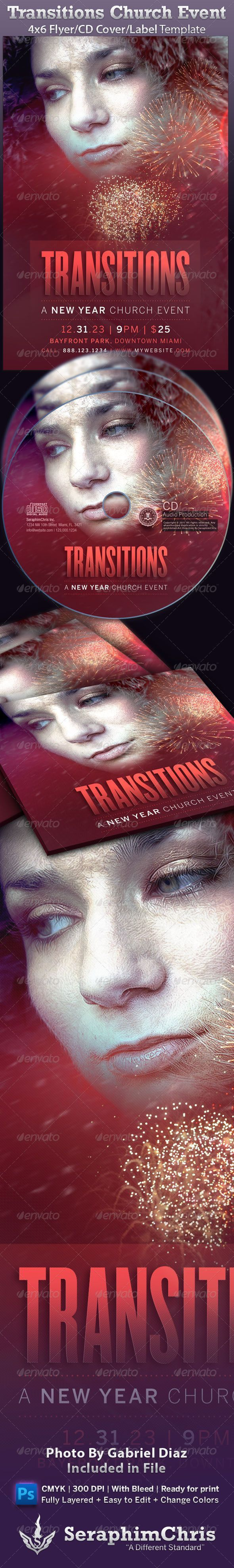 Transitions Church New Year Event Flyer  #GraphicRiver         Photo by Gabriel Diaz Photography photodune /user/GabrielDiaz   This Transitions Church New Year Event Flyer template is customized for the Church Events and anyone who needs a cool inviting mood, with modern and unique look for their church or concert promotion audio books, mixtapes or sermons. Add this to your promotional arsenal for a maximum effect with your contemporary audience.   In this package you'll get a great value…