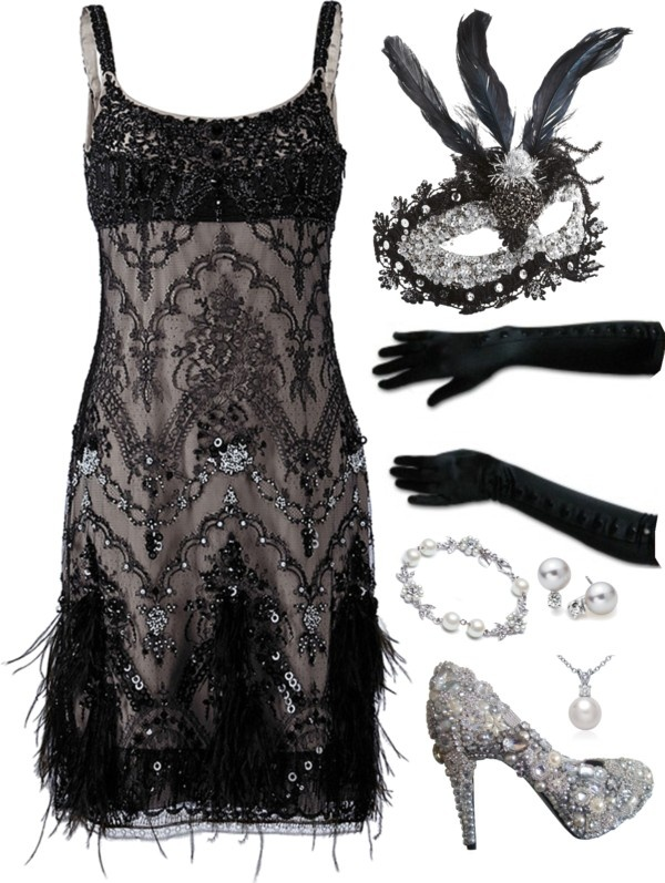 """Vintage Masks Ball"" by nazaretqp on Polyvore...love the outfit without the mask...ok the mask is cool too!"