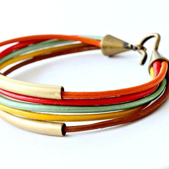 Leather and Tube Bangle Wrap Bracelet
