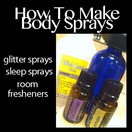 How To Make Body Spray. Basic Recipe: - small Spray Bottle - 1 C Distilled Water - 1 1/2 T Vodka or Witch Hazel - 7 Drops Various Essential Oils or fragrance oils.