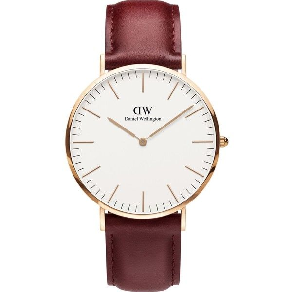 Daniel Wellington Classic Suffolk rose-gold and leather strap ($175) ❤ liked on Polyvore featuring jewelry, watches, daniel wellington watches, pink gold watches, charm jewelry, rose gold watches and red gold jewelry