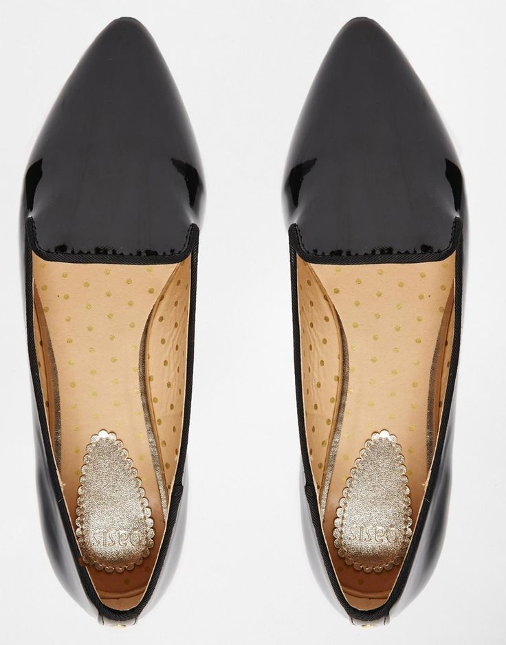 Oasis Black Patent Pointed Flat Slipper Shoes