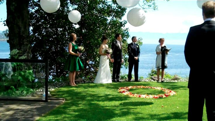 Sooke Harbour House oceanfront Upper Garden ceremony site on Vancouver Island - Vancouver Island Wedding Venue