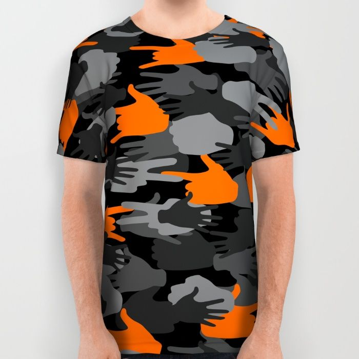 Hand sign camouflage pattern, camo, orange, camouflage...