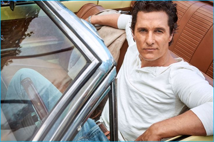 Going casual for the pages of Esquire, Matthew McConaughey wears a henley and distressed denim jeans from Polo Ralph Lauren.