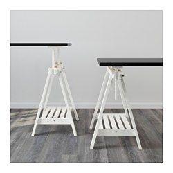 "FINNVARD Trestle with shelf, white - 27 1/2x28/36 5/8 "" - IKEA"