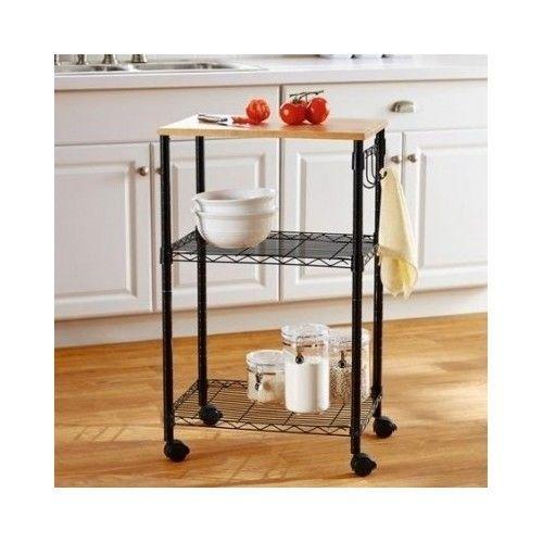 Rolling-Kitchen-Cart-Black-Trolley-Utility-Food-Storage-Towel-Holder-Wood-Stand