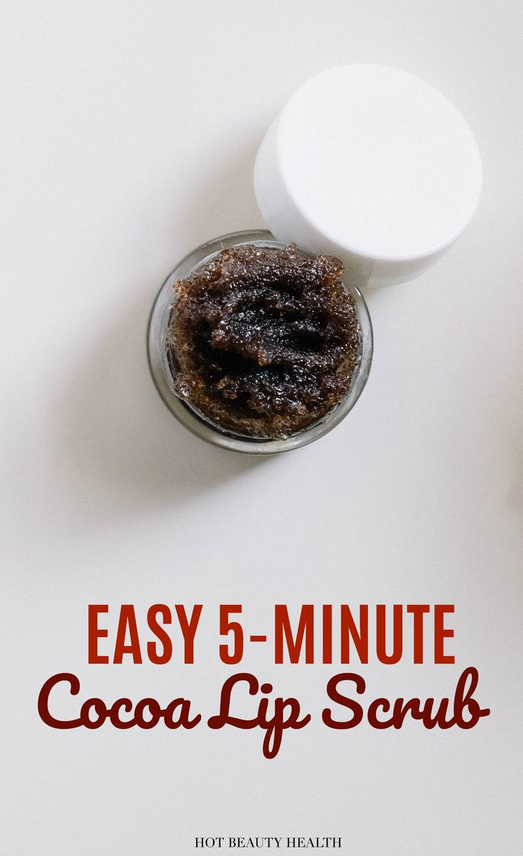 A 5-minute diy cocoa lip sugar scrub that is so easy to make. It's the perfect exfoliator for dry lips this winter season being that chocolate is rich in antioxidants. (Click here for the homemade recipe!) Hot Beauty Health #diysugarscrub #lipscrub #cocoascrub