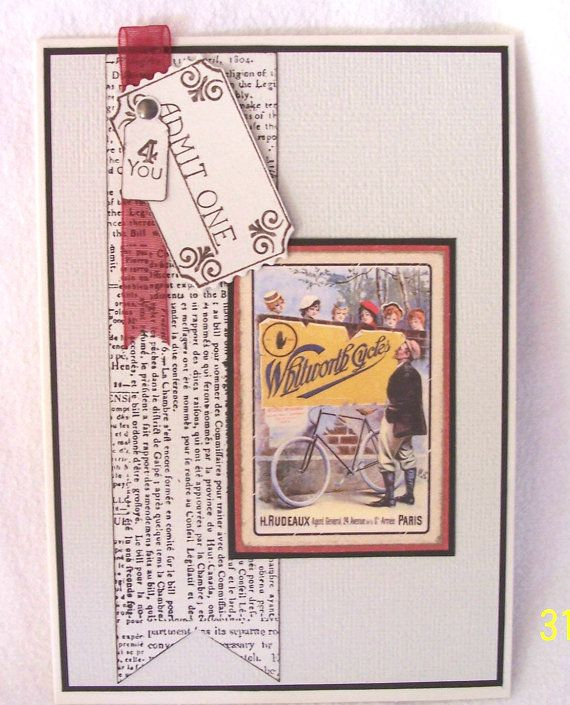 Vintage bicycle sign card. This is a blank masculine by KayaDoll