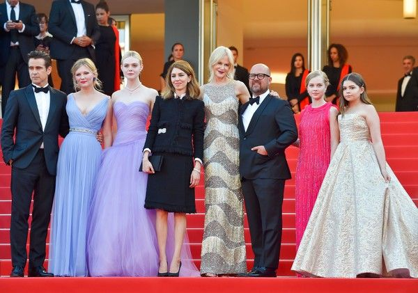 (From L) Irish actor Colin Farrell, US actress Kirsten Dunst, US actress Elle Fanning, US director Sofia Coppola, Australian-US actress Nicole Kidman, US producer Youree Henley, Australian actress Angourie Rice and US actress Addison Riecke pose as they arrive on May 24, 2017 for the screening of the film 'The Beguiled' at the 70th edition of the Cannes Film Festival in Cannes, southern France.  / AFP PHOTO / LOIC VENANCE