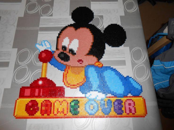 baby Mickey Game Over hama perler beads by swarovski