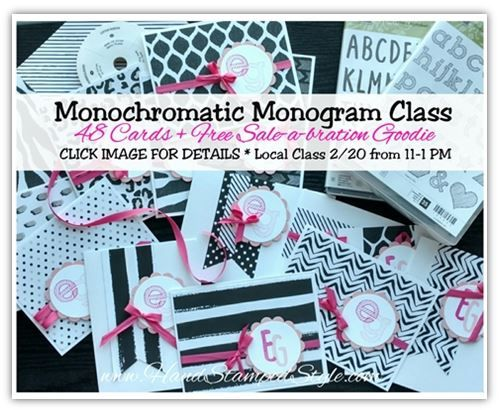 Monochromatic Monogram stationary Class - create 48 cards/envies & product and stamp set included!!