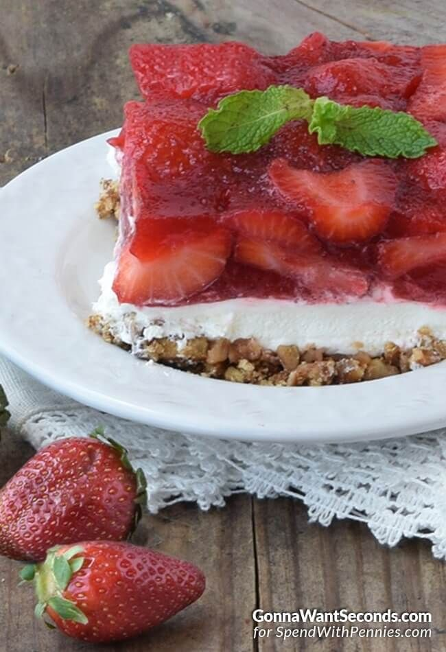 Strawberry Pretzel Salad~this is my family's favorite dessert. We serve it at every family gathering. It's the perfect combo of sweet and salty, creamy and crunchy! Great any time of the year and it serves a lot of people!
