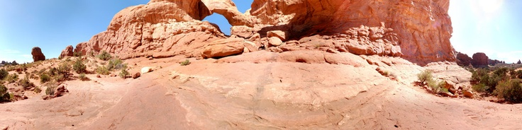 If you saw the openingof Indiana Jones and the Last CrusadeThis is where they shot the Cave entrance scene (note: there is no cave here) Located at Elephant Butte in Arches National park and a easy five min. walk from the parking lot.