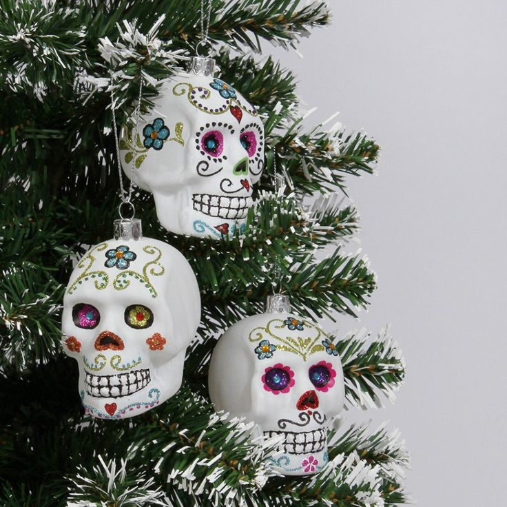 Sugar skull glass Christmas hanging decorations - box of 3