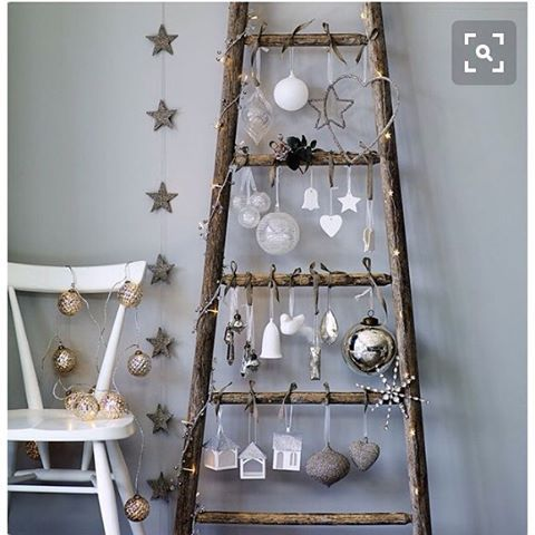 Vintage timber ladders make a fabulous Christmas tree alternative.... Love this Pic credit @elledecorationuk  #christmas #xmastree #xmas #christmastree #christmasornaments #christmasdecorations #festive #holidaysecorating #timbertree #christmasladder #roxyoxycreations