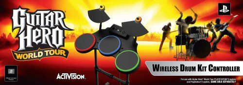PS2/PS3 Guitar Hero World Tour-Stand Alone Drums  Three drum pads, two raised cymbals and non-slip moveable kick pedal deliver a more authentic drummer experience. Drum sticks also included.  Expandable setup via MIDI hookup  Collapsible adjustable stand makes drums easy to set up, customize for height, move, break down, and store  Works with Guitar Hero World Tour software  Compatible with both the PS2 and PS3 Video Console hardware systems