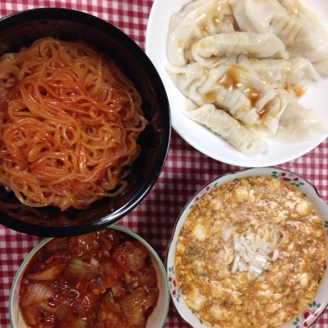 旦那様バージョンヽ(^ω^)ノ - 10件のもぐもぐ - 麻婆豆腐  エビチリ  水餃子  ビビン麺 by hisumi751