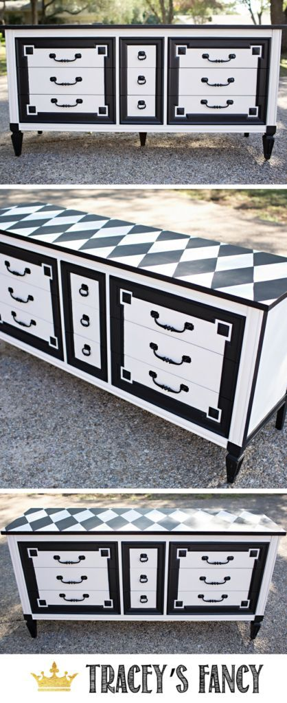 Gorgeous Black and White dresser with a serious tuxedo-like front and a playful Harlequin top. Black and White Dresser painted by Tracey's Fancy | Black and White Furniture | Furniture Redo | DIY Furniture Makeover | Furniture Painting Tips | How to Paint Furniture