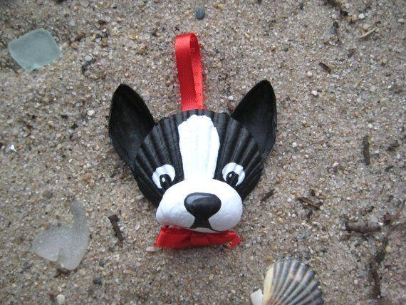 Items similar to Boston Terrier Ornament. Hand-painted seashell Boston Terrier ornament. Cape Cod, Beach, dog art. on Etsy