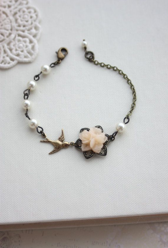 Light Champagne Peach Ivory Pearls Adjustable
