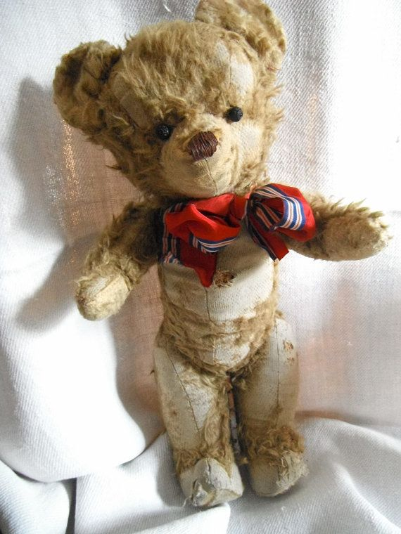 Antique Teddy Bear Straw Filled Fine Wood by FrenchCountryLiving