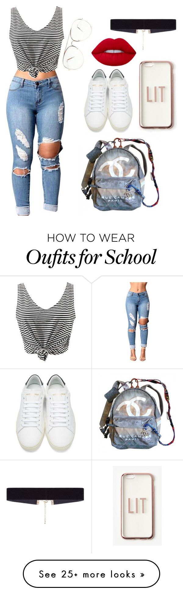 """""""School Outfit"""" by gustavia5347 on Polyvore featuring Chanel, Missguided, WithChic, Yves Saint Laurent and 8 Other Reasons"""