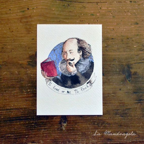 Cartolina To Read or not to Read / William Shakespeare. Stampa acquerello originale by Mandragola #italiasmartteam #etsy