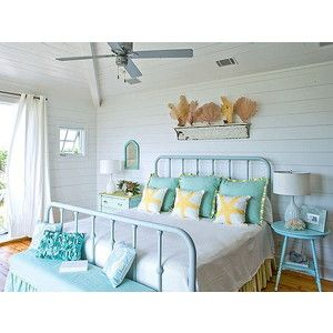 Painted ceiling cottage by the water ideas pinterest for Beach theme bedroom designs