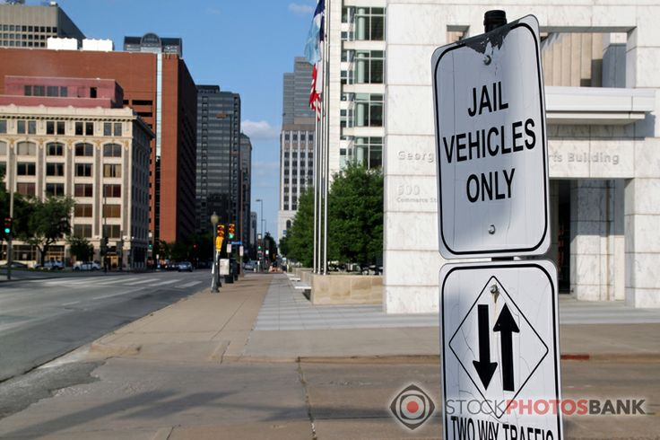 """Stockphotosbank: Warning sign """"Jail Vehicles Only"""" in Dallas, Texas"""