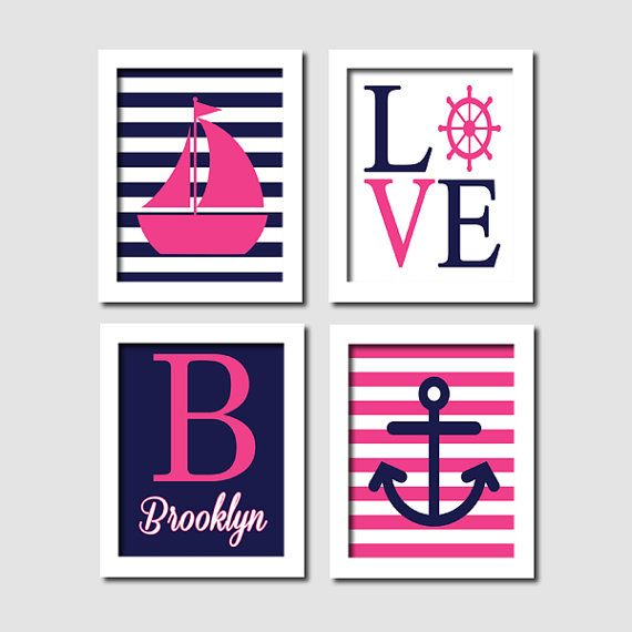 Girls Nautical Wall Art Sailboat Love Captains Wheel Anchor Monogram Pink Navy Set of 4 Prints Baby Girl Nursery Girl Bedroom Decor Picture