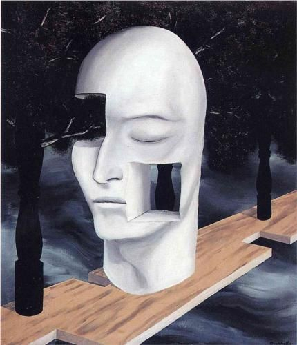 Magritte - The Face of Genius has a similar bald mannequin characteristics as to the He is not Speaking To Us piece. The mannequin creates a universal, ordered interpretation, but then disorder because of the holes missing in the face