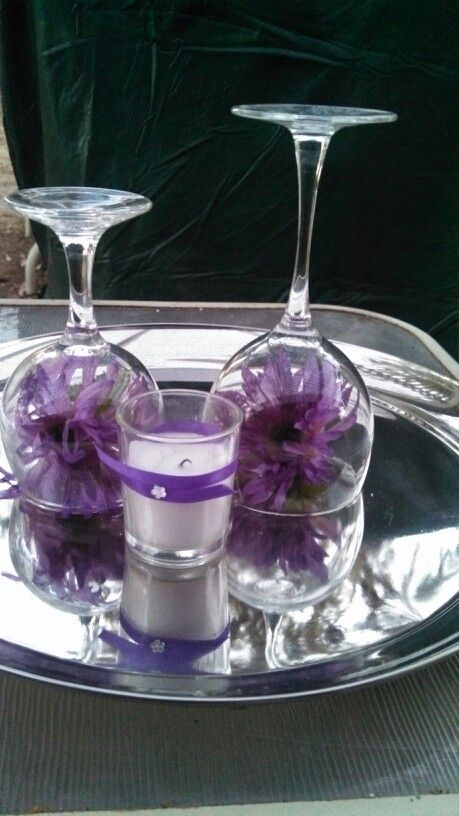 Wine glass centerpiece wine glass centerpieces for Wine centerpiece ideas