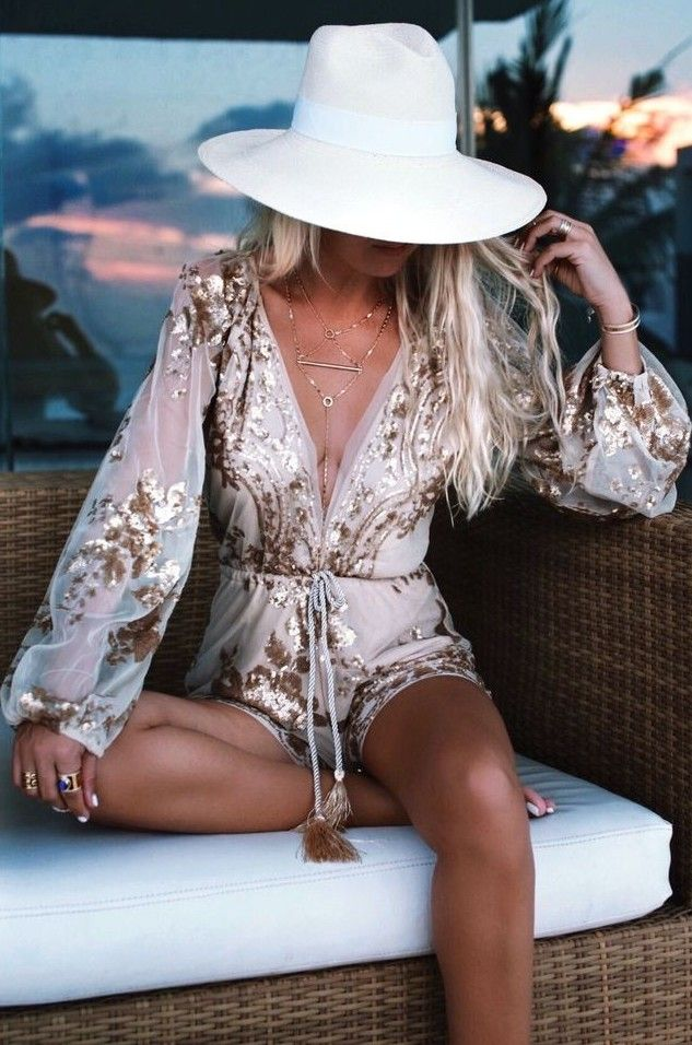 Gold Embellished Playsuit                                                                             Source