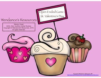 Here is a *free* open-ended game board for Valentine's Day.  The sweet cupcakes can help any speech or language target get you right to the last bite.  Enjoy!  Wendance's Resources