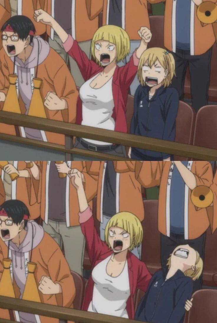 """""""YACHI HANG IN THERE""""   She is dead oh gavd call help   Tanakas sister is cool haha   Haikyuu!! ✧"""