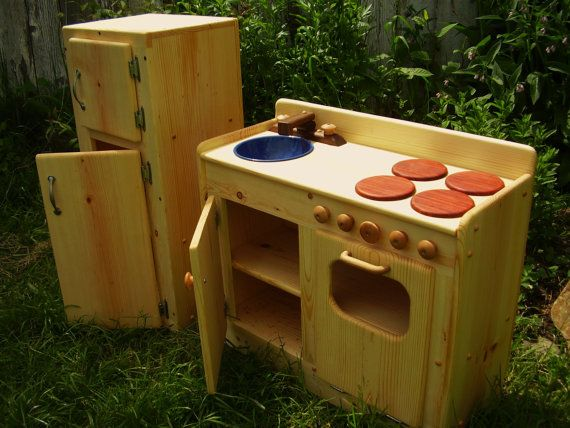 Wooden Play Kitchen U0026 Fridge SET By By Heartwoodnaturaltoys, $340.00