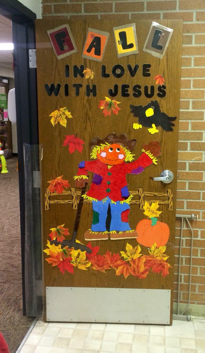 Fall In Love With Jesus Classroom Door Idea.