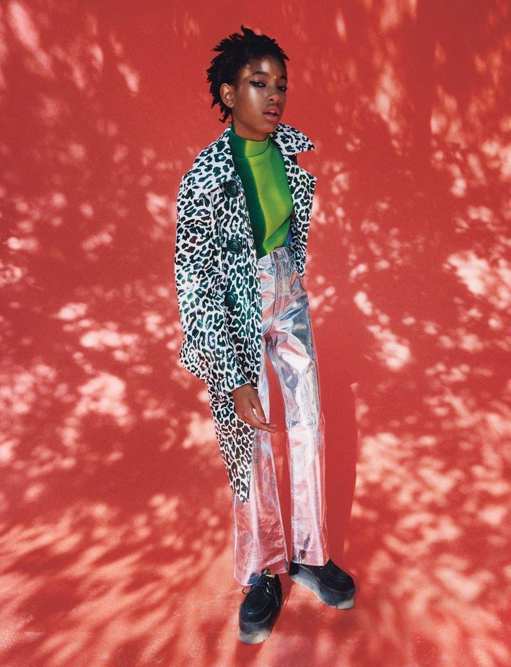 Willow wears coat Miu Miu. Top House of Liza. Trousers Sonia Rykiel. Jewellery (worn throughout) Willow's own. Shoes TUK.