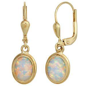 Boutons-oval-333-Gold-Gelbgold-2-Opale-Ohrringe-Ohrhaenger-Goldohrringe-mit-Opal