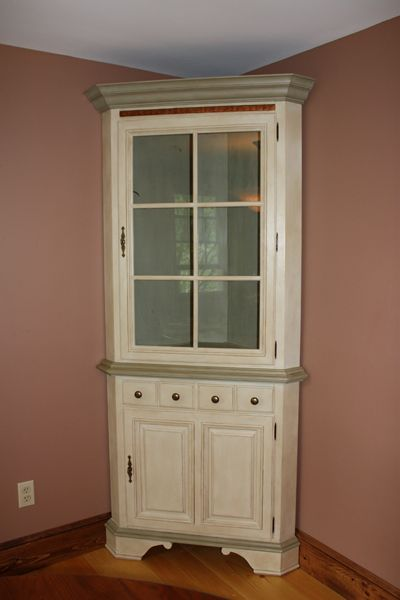 Annie Sloan Chalk Painted Corner Hutch In Old Ochre And A Custom Mix Of  Chateau Gray Part 15