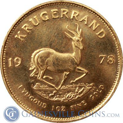 1 oz South African Gold Krugerrand  http://www.gainesvillecoins.com/category/507/south-african-gold-krugerrands.aspx