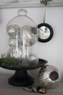 glass cloche w/ mercury glass for Christmas